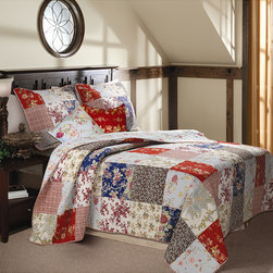 None - Amelia 5-piece Quilt Bonus Set - A gorgeous combination of floral prints and plaids in reds, blues, yellows and natural tones, this Amelia quilt set makes a great match for any bedroom. The quilt features plaid fabric binding reverses to a coordinating antique floral print.