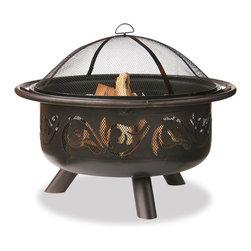 Garden Treasures - Garden Treasures WAD900SP Oil Rubbed Bronze Firebowl w/ Swirls - Oil Rubbed Bronze Bowl with Design