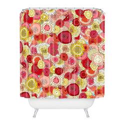 DENY Designs - Sharon Turner Coral Garden Shower Curtain - Who says bathrooms can't be fun? To get the most bang for your buck, start with an artistic, inventive shower curtain. We've got endless options that will really make your bathroom pop. Heck, your guests may start spending a little extra time in there because of it!