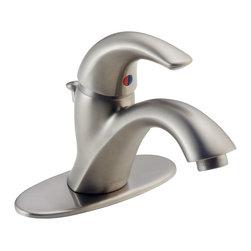 Delta - C-Spouts Single Handle Centerset Bathroom Faucet in Stainless - Delta 583LF-WF C-Spouts Single Handle Centerset Bathroom Faucet in Stainless.