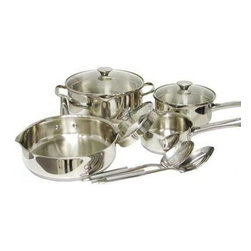 """T-Fal/Wearever - Cook & Strain Stainless Steel 10 Pc. - WearEver Cook & Strain Stainless Steel 10-piece Cookware Set. 10 piece set includes: 1 Qt. & 2 Qt. Covered Sauce Pans, 5 Qt. Covered Dutch Oven, 9.5"""" Open Deep Saute Pan, Stainless Steel Colander and 2 Tools. Luxury in style complements function in design.  18/10 polished Stainless Steel exterior.  Impact polished tri-ply disc base.  Metal safe Nonstick Interior on saute pans.  Riveted Stainless Steel handles.  Oven safe to 500 degrees. Transition from model A834SA65"""