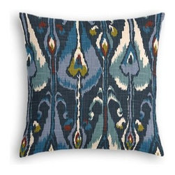 Navy Blue Modern Ikat Custom Throw Pillow - The every-style accent pillow: this Simple Throw Pillow works in any space.  Perfectly cut to be extra fluffy, you'll not only love admiring it from afar but snuggling up to it too! We love it in this modern navy ikat with touches of teal and mustard that's as spicy and seductive as midnight in Mumbai.