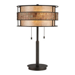 Quoizel - Quoizel Renaissance Copper Lamps - SKU: MC842TRC - This mica piece is an addition to the Quoizel Naturals collection and features a mosaic tile stripe, which appears to be floating around a taupe mica shade. The tiles have a coppery shimmer for an added touch of elegance. It provides a warm and inviting accent for most any home.