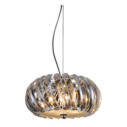 """IFN Modern - Solaris 4 Light Crystal Pendant - The 4-light crystal pendant gives a striking look to your interiors. It has a semi-oval design with slanting crystal curves that shine when lit up. The 4 lights in this crystal pendant give maximum lighting to illuminate your vanity space or kitchen area.â— Metalâ— Chrome Finishâ—20 Watt Halogen (Included)â— 4lbsâ— 12"""" Shade Diameterâ— 110 Volts"""