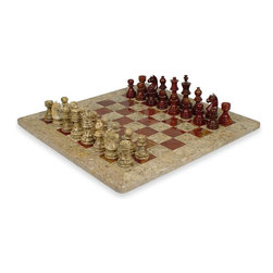 """The Chess Store - Coral Stone & Red Onyx Marble Staunton Chess Set- 16"""" Chess Board - Coral Stone and Red Onyx Stunning 16"""" x 16"""" marble chess set delicately hand carved pieces. King is 3.5"""" tall and pawns are 2"""". Comes Packed in a Beautiful Velvet Gift Box. Beautiful Wedding, Holiday, Anniversary, Birthday Gift."""