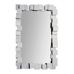 Ren-Wil - Ren-Wil MT1267 Portrait Whitley in All Glass - Multiple polished mirror squares are stacked up around the center polished mirror to create a trendy design perfect for any decor.