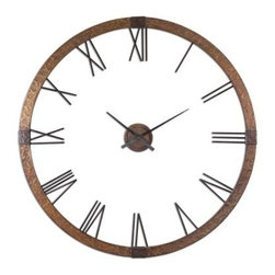 Uttermost Amarion Oversized 2-Piece 60.25-in. Wall Clock - A truly unique accent for your wall the Amarion Oversized 2-Piece 60.25-in. Wall Clock has a center hand movement that's separate from the outer frame letting your wall color show through. This giant clock will look perfect on a white or light-colored wall putting an antiqued finishing touch on your room.About Uttermost:The mission of the Uttermost Company is simple: to make great home accessories at reasonable prices. This has been their objective since founding their family-owned business over 30 years ago. Uttermost manufactures mirrors art metal wall art lamps accessories clocks and lighting fixtures in its Rocky Mount Virginia factories. They provide quality furnishings throughout the world from their state-of-the-art distribution center located on the West Coast of the United States.