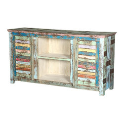 Sierra Living Concepts - Ritter Rainbow Reclaimed Wood Shutter Door Media Console - What happens when old world artisans add a rustic design with a colorful surface? They came up with our Ritter Rainbow Shutter Door Entertainment Console. This handmade solid wood TV stand is built with reclaimed wood from Gujarat. The weathered media stand is built with carefully selected old wood, with surfaces that have been seasoned over time and have achieved a naturally distressed quality.
