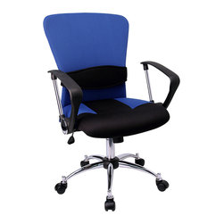 Flash Furniture - Flash Furniture Mid-Back Blue Mesh Office Chair - LF-W23-BLUE-GG - This office chair shows off a distinct appearance with its curved back and chrome framed arms. chair is attractively designed with its two-tone mesh upholstery and chrome arms with polyurethane arm caps. [LF-W23-BLUE-GG]