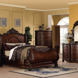 Acme Furniture - Jacob Traditional Dark Cherry 5 Piece King Sleigh Bedroom Set - - Set includes California King Bed, Dresser, Mirror, Nightstand and Chest