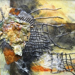 Nature By Carol Schiff (Original) By Carol Schiff - This is an acrylic mixed media assemblage on stretched canvas.  I used various papers and burlap  to achieve the effect.  This is a dimensional piece.