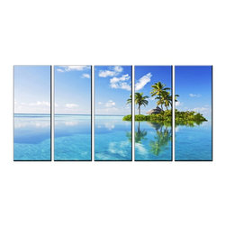 Vibrant Canvas Prints - Canvas Prints, Framed Huge Canvas Print 5 Panel Seascape Island Prints Wall Art - QUALITY CANVAS PRINT FRAMED AND READY TO HANG
