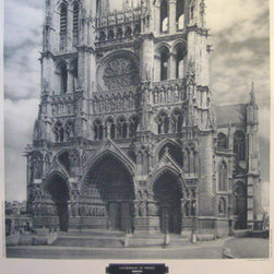 """Consigned 1950s Vintage Travel Poster, France, Amiens - This poster was produced by the """"Ministere des Travaux Publics, des Transports et du Tourism"""" or Minister of Public Works, Transport and Tourism. Featuring a view of a French cathedral, this poster puts in evidence the rich history and monumental architecture of France, it's no wonder that millions of tourists flock to this country every year! In excellent condition, this poster has been linen backed and is measures 24.5 x 38.5 inches."""