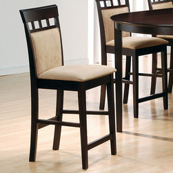 Coaster - 24in. Cushion Back Bar Stool in Cappuccino, Set of 2 - Introducing a fresh dining group to add to our existin Mix and Match series. This group is finished in a rich cappuccino and is constructed of solid hardwoods. The eye catching table top is divided into four sections with our black tempered glass inlays. Matching bar stools provide supreme comfort with padded seat cushions.