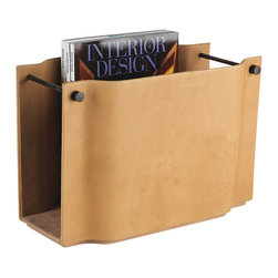 Studio A - Serpentine Magazine Caddy - Camel - A classic, elegant shape forms the foundation of the Serpentine Magazine Caddy. Antiqued, soft camel-colored or grey leather exterior, suede interior and antique bronze hardware.