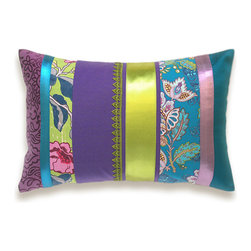 Purple Green Blue Lumbar Pillow Case 12 x 18 in - Beautiful and unique striped accent pillow cover.