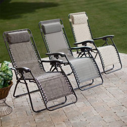 Coral Coast - Coral Coast Modern Mesh Zero Gravity Lounge Chair - JH-HZL HF-01 - Shop for Chairs and Sofas from Hayneedle.com! Add infinite comfort and a splash of modern style to your deck or patio with a Coral Coast Quick Dry Zero Gravity Recliner. A sling seat provides full-body support while yieldign comfortably to your shape. The seat is also water-resistant offering extra durability. The powder-coated steel frame will put you at ease knowing you're resting on a stable frame that will last. Infinite recline points within the range of motion allow for precise positioning but because the chair is designed to relieve strain on your lower spine and back it does not recline to a fully flat position. This chair folds up for easy storage and transport. Available in your choice of neutral colors and modern patterns this patio recliner also features a removable headrest to make your afternoon outside even more relaxing. Fully reclined the Zero Gravity Recliner measures 63L x 25W x 32H inches. About Coral CoastWhat if when you closed your eyes you pictured yourself in your own backyard? Coral Coast has a collection of easygoing affordable outdoor accessories for your patio pool or backyard. The latest colors and styles mingle with true classics in weather-worthy fabrics and finished woods ready for relaxation. Make yours a life of leisure.