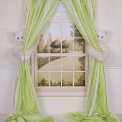 Curtain Critters - Kitty Curtain Tieback - Set of Two - Tie back a little one's curtains with the help of some animal friends. This furry pair looks darling peeking out from bedroom or playroom windows, and their paws come with easy closures for simple fastening.   Includes two tiebacks Curtains not included 7'' W x 10'' H x 5'' D Polyester Machine wash Imported