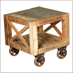 Industrial Reclaimed Wood & Iron Rolling Night Stand End Table - X marks the spot for both fun and function with our Industrial Square Accent Table.