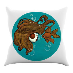 "Kess InHouse - Jaidyn Erickson ""Goldfish"" Throw Pillow (18"" x 18"") - Rest among the art you love. Transform your hang out room into a hip gallery, that's also comfortable. With this pillow you can create an environment that reflects your unique style. It's amazing what a throw pillow can do to complete a room. (Kess InHouse is not responsible for pillow fighting that may occur as the result of creative stimulation)."