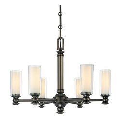 Minka Lavery - Minka Lavery 4366-281 Harvard Court Bronze 6 Light Chandelier - Clear & Etched Opal Glass Shades
