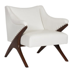 Worlds Away - Worlds Away Beech Wood Chair DON CR - Beech wood chair with nail heads in cream pu leather.