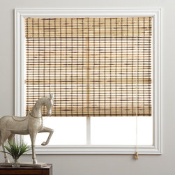 Safe-er-Grip - Rustique Bamboo 98-inch Long Roman Shade - Give your windows a stylish look and add privacy to your home with these bamboo window shades. They are made with carefully woven rustique colored bamboo to gently filter the light in. They will look great in any room and are easy to clean.