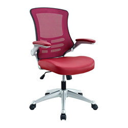 Modway Furniture - Modway Attainment Office Chair in Burgundy - Office Chair in Burgundy belongs to Attainment Collection by Modway Taking you where you need when you need it most. The Attainment Office Chair is a form-fitting ergonomic chair made from the most revolutionary advances in seating today. The breathable mesh back is curved to assist back and shoulder posture, while the lower frame provides exemplary lumbar support. With flip up arms, and a waterfall padded leatherette seat, enjoy your work from a place of comprehensive comfort. Set Includes: One - Clutch Office Chair with Black Mesh Back and Black Leatherette Seat Office Chair (1)
