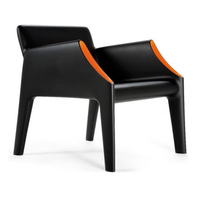 Kartell - Magic Hole Arm Chair, Black/Orange - Kartell's new outdoor products manufactured using the rotational molding technique: the Magic Hole series consists of a two-seater sofa and an armchair with an uncluttered snappy silhouette and slim closed section legs. The straight linear surfaces terminate in well-rounded curves. The austerity of the lines is broken and enhanced by the originality of the stylistic details: a flared white or grey or black ton-sur-ton pocket, or contrasting fluorescent colors of orange or green on the interior hollow curve of the arms. Comfortable, light, shock resistant and weatherproof, the Magic Hole sofa and armchair are perfect for outdoor use, ideal in the garden, on the terrace, the veranda, poolside or for outdoor use in public places.