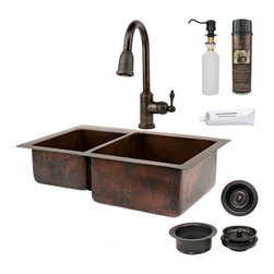 "Premier Copper Products - 33"" Copper Kitchen 40/60 Sink w/ ORB Faucet - PACKAGE INCLUDES:"