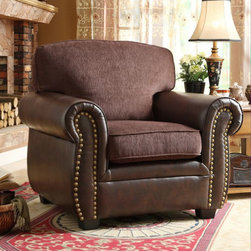Homelegance - Homelegance Beckstead Arm Chair in Chocolate & Dark Brown - The transitional style of the Beckstead Collection is accented with contrasting fabrics, coordinating toss pillows and nail-head accent. Chocolate chenille covers the seating of the collection while dark brown bi-cast vinyl flanks each piece. The coordinating pillows have a slightly modern flair that blends effortlessly with the collection. - 9735-1.  Product features: Beckstead Collection; Chocolate chenille and dark brown bi-cast vinyl; Transitional Style. Product includes: Chair (1). Arm Chair in Chocolate & Dark Brown  belongs to Beckstead Collection by Homelegance.