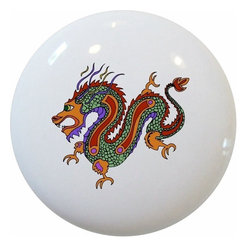 Carolina Hardware and Decor, LLC - Asian Dragon Ceramic Knob - New 1 1/2 inch ceramic cabinet, drawer, or furniture knob with mounting hardware included. Also works great in a bathroom or on bi-fold closet doors (may require longer screws).  Item can be wiped clean with a soft damp cloth.  Great addition and nice finishing touch to any room!