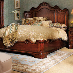 """Lumiere"" Bedroom Furniture - The Lumiere bed is large in scale and dramatic in style.  Designed with Italian styling, it is made of select hardwoods with laurel burl in a walnut finish.     * Queen platform bed, 71""W x 91""L x 74""T with a 19""T footboard.    * King platform bed, 86.5""W x 91""L x 74""T with a 19""T footboard.    * Pricing is for King size."
