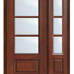 "Prehung French Single Door 96 Wood Mahogany Full Lite 12 Lite - SKU#    MCR06-SDL3_DF34D31-1Brand    GlassCraftDoor Type    FrenchManufacturer Collection    3 Lite French DoorsDoor Model    3 LiteDoor Material    FiberglassWoodgrain    Veneer    Price    3525Door Size Options    32"" + 14""[3'-10""]  $032"" + 12""[3'-8""]  $036"" + 14""[4'-2""]  $036"" + 12""[4'-0""]  $0Core Type    Door Style    Door Lite Style    3/4 Lite , 3 LiteDoor Panel Style    1 PanelHome Style Matching    Door Construction    TDLPrehanging Options    Prehung , ImpactPrehung Configuration    Door with One SideliteDoor Thickness (Inches)    1.75Glass Thickness (Inches)    Glass Type    Double GlazedGlass Caming    Glass Features    Tempered glassGlass Style    Glass Texture    ClearGlass Obscurity    No ObscurityDoor Features    Door Approvals    TCEQ , Wind-load Rated , AMD , NFRC-IG , IRC , NFRC-Safety GlassDoor Finishes    Door Accessories    Weight (lbs)    418Crating Size    25"" (w)x 108"" (l)x 52"" (h)Lead Time    Slab Doors: 7 Business DaysPrehung:14 Business DaysPrefinished, PreHung:21 Business DaysWarranty    Five (5) years limited warranty for the Fiberglass FinishThree (3) years limited warranty for MasterGrain Door Panel"