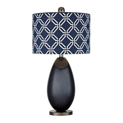 Joshua Marshal - One Light Navy Blue With Black Nickle Blue With White Pattern Print, S - One Light Navy Blue With Black Nickle Blue With White Pattern Print, S