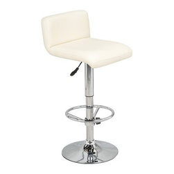 "Wildon Home - Wedge Gas Lift Swivel Barstool (Set of 2) - Features: -Set of 2 swivel barstools. -Metal construction. -Polyurethane seat. -Contemporary style. -Chrome base. -Adjustable from counter height to bar height. -Assembly required. -Dimensions: 23"" Height x 16"" Width x 23"" Depth."