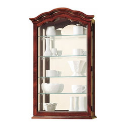 "Howard Miller - Vancouver Wall Curio Cabinet - The delicately arched pediment and mirrored glass back on this exquisite wall collector�۪s cabinet creates the perfect compliment for your collectibles. Sturdy ""no-tip"" base allows flexibility for setting collectibles on the mantel or table or hanging it on the wall. Rich Windsor Cherry edged glass front door is hinged for easy access to your collection. * Delicately arched pediment.. Glass-mirrored back beautifully reflects each collectible.. Four adjustable glass shelves offer many levels of adjustment.. Mount on the wall or set on a mantel or bookcase with a specially designed ""no-tip"" base.. Access your collectibles through a hinged, front door.. Finished in Windsor Cherry on select hardwoods and veneers.. H. 33-1/2"" (85 cm). W. 20"" (51 cm). D. 8-1/4"" (21 cm)"