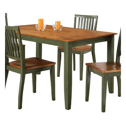 "Steve Silver Furniture - Steve Silver Candice Rectangular Dining Table in Oak and Green - The Candice collection offers country-style simplicity, transforming any dining area into a charming sanctuary. The two toned green and oak Candice table has a 36"" x 60"" surface, large enough to seat six comfortably. Pair with Candice side chairs and server to complete the look."