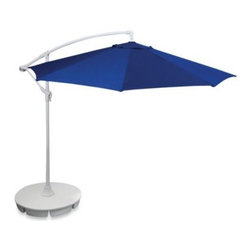 All-luminum Products Inc/import Div - 9-Foot Offset Umbrella in Blue - This outdoor umbrella has an offset frame, making it great for corner use or to reach over tables without umbrella capabilities. Frame is made of sturdy steel.