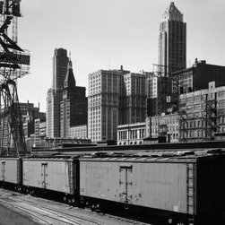 Chicago Skyline From Water Street Print - General view of part of the South Water street Illinois Central Railroad freight terminal, Chicago, Il. Photographed by Jack Delano April 1943 for the FSA in 4x5 (original in color).