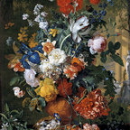 Flowers in a Terracotta Vase on a Marble Ledge | Huysum | Canvas Print - Condition: Canvas Print - Unframed