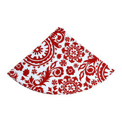 """""""Around the Tree"""" Tree Skirt - A bold, gorgeous crimson and white tree skirt for those who appreciate a baroque floral patterning that calls attention to your beautiful tree and adds a great holiday pop of color to your Christmas decor. The Around the Tree Skirt has an almost old world feel to it and would be complimentary to a vintage holiday decor style, as well as, a more contemporary one."""