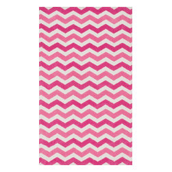 """Loloi Rugs - Loloi Rugs Zoey Collection - Pink, 5'-0"""" x 7'-0"""" - Zoey is a delightful collection of lighthearted, cheerful patterns in pinks, blues and greens that are perfect for young kids or the young at heart. Power loomed in China of super soft polyester microfiber, Zoey rugs are durable, yet soft enough for infants and toddlers to cozy up to.�"""