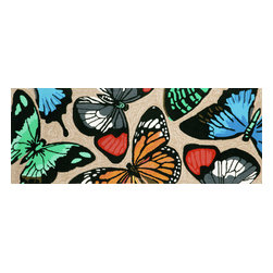 """Trans-Ocean Inc - Butterfly Dance Multi 27"""" x 72"""" Indoor/Outdoor Rug - Richly blended colors add vitality and sophistication to playful novelty designs. Lightweight loosely tufted Indoor Outdoor rugs made of synthetic materials in China and UV stabilized to resist fading. These whimsical rugs are sure to liven up any indoor or outdoor space, and their easy care and durability make them ideal for kitchens, bathrooms, and porches; Primary color: Neutral;"""