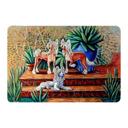 Caroline's Treasures - Chinese Crested  Kitchen Or Bath Mat 24X36 - Kitchen or Bath COMFORT FLOOR MAT This mat is 24 inch by 36 inch.  Comfort Mat / Carpet / Rug that is Made and Printed in the USA. A foam cushion is attached to the bottom of the mat for comfort when standing. The mat has been permenantly dyed for moderate traffic. Durable and fade resistant. The back of the mat is rubber backed to keep the mat from slipping on a smooth floor. Use pressure and water from garden hose or power washer to clean the mat.  Vacuuming only with the hard wood floor setting, as to not pull up the knap of the felt.   Avoid soap or cleaner that produces suds when cleaning.  It will be difficult to get the suds out of the mat.