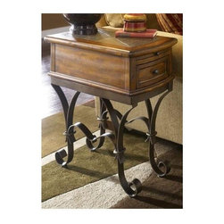 Riverside Furniture - Stone Forge Chairside Table in Tuscan Sun Fin - Convenience pull-out shelf. Storage drawer with wood-on-wood guides. Made from hardwood solid, earth-tone natural slate and hand-forged iron base. 24 in. W x 14 in. D x 26 in. H (59 lbs.). Assembly InstructionsWith natural colors as luscious as the Tuscan countryside at sunset, the Stone Forge Chair side table summons a casual atmosphere to the space it inhabits. The Italian-influenced piece features a wood framed earth-tone natural slate table top.