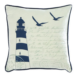 Benzara - Fabric Pillow Embodied with Artistic Paintings in Navy Blue - If you want a perfect blend of elegance and serenity to enhance comfort levels in your home, this Fabric Pillow is sure to suit your needs. The pristine white fabric is embellished with a navy blue border highlights an elegant simplicity that the pillow displays. It also features calligraphic writing on the pillow which adds to the distinctive appearance and enhances overall appeal. The pillow is adorned with a detailed light house and sea gulls. Extremely smooth and the surface, this pillow is a combination linen and cotton. It includes simple textures that are blended with artistic details, making this pillow eye catching in appearance. Soft to touch and eye catching in appearance, this pillow is ideal if you are looking for exceptional comfort. It comes with a dimension of 5 in.  H x 18 in.  W.