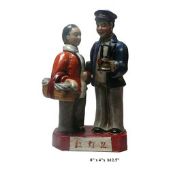 "Chinese Cultural Revolution Mao Period Movement Figure - Dimensions: w8"" x d4"" x h12.5"""