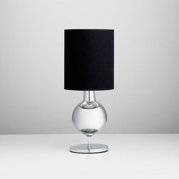 bogart table lamp - sleek and stylish in design, this stunning glass lamp with black shade and chrome liner will add an exquisite modern touch to any room. bogart table lamp available at hautebox.co