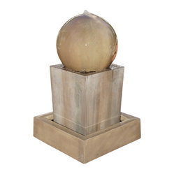 Obtuse Outdoor Fountain with Ball, Rustic - A great contemporary piece for any home or business.